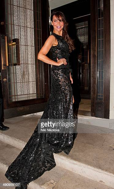 Lizzie Cundy is seen leaving the 34 restaurant Mayfair on May 15 2014 in London England