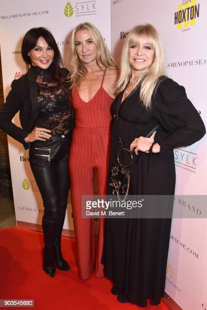 Lizzie Cundy Meg Matthews and Jo Wood attend the launch of #megsmenopause at Home House on January 10 2018 in London England