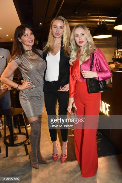 Lizzie Cundy Noelle Reno and Naomi Isted attend the opening of FRAME an exhibition of photographs by Alan Chapman at BXR London on March 6 2018 in...