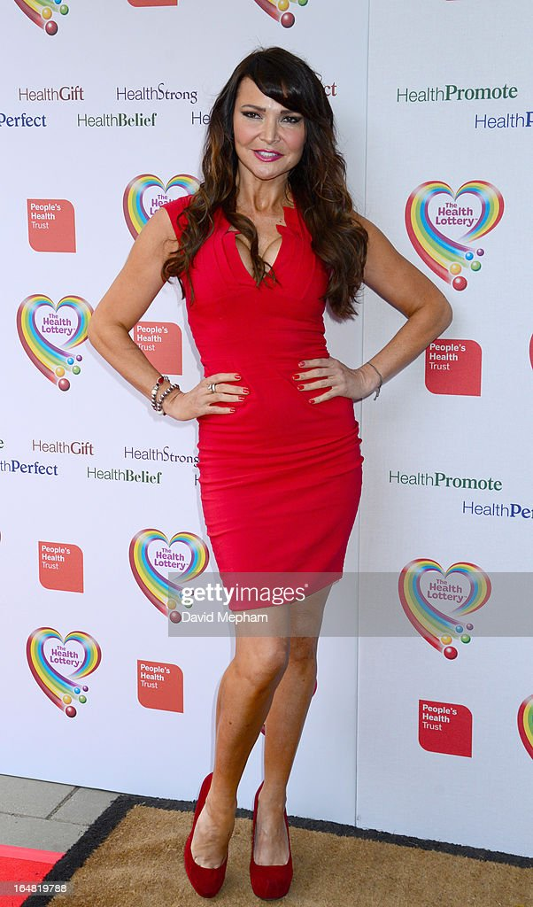 Lizzie Cundy sighted arriving for The Health Lottery Fundraising Event outside Claridges Hotel on March 28, 2013 in London, England.
