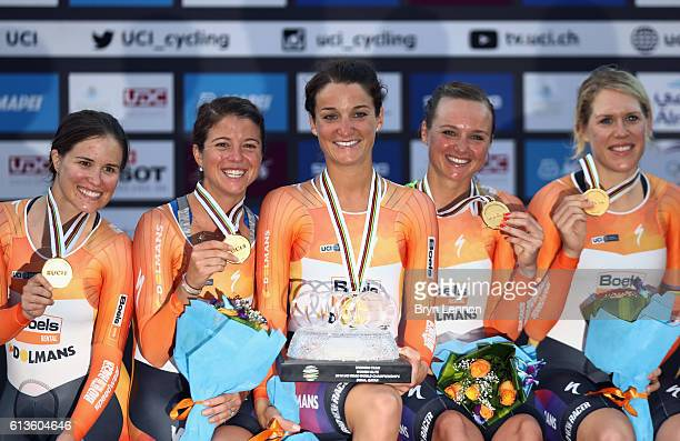 Lizzie Deignan of Great Britain celebrates with her Boels Dolmans team mates after winning the Women's Team Time Trial on day one of the 2016 UCI...
