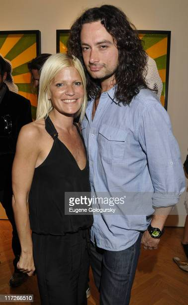 Lizzie Grubman and Constantine Maroulis attend the American Borders exhibition opening at the Stellan Holm Gallery on April 7 2010 in New York City