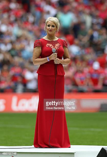 Lizzie Jones, widow of rugby league player Danny Jones sings Abide with Me prior to the Ladbrokes Challenge Cup Final at Wembley Stadium on August...