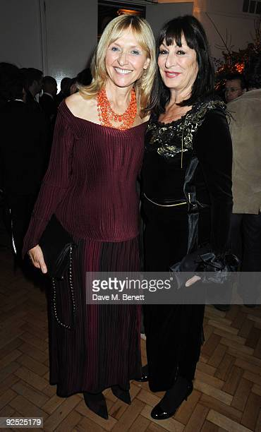 Lizzie Spender and actress Anjelica Huston attend the afterparty following the closing night gala premiere of 'Nowhere Boy' during the Times BFI...