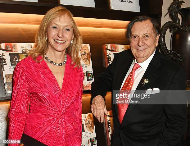 """Lizzie Spender and Barry Humphries attend a champagne reception to celebrate the launch of """"Mandarin Oriental: The Book"""" by Assouline at Maison..."""
