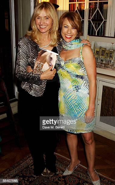 Lizzie Spender and Cathy Letts attend the book launch party for Lizzie Spenders new book Wild Horse Diaries at 15 Albemarle Street on September 14...
