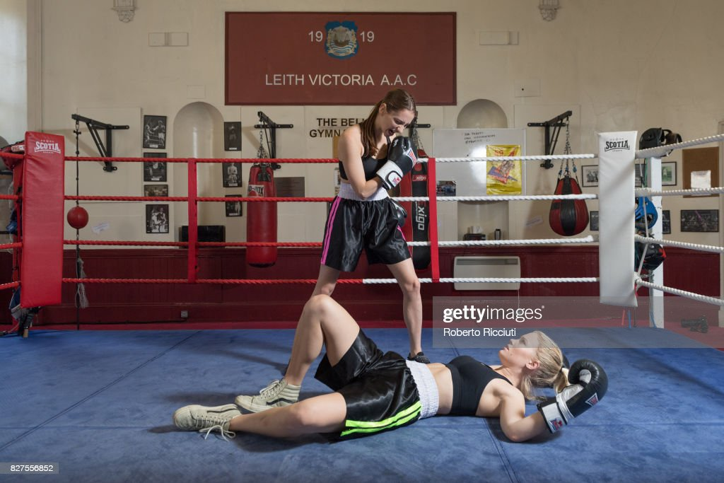 Lizzie Stanton and Sofia Greenacre of Tramp Production pose in the ring during a photocall to promote the show 'The Sweet Science' at Leith Victoria AAC during the 70th Edinburgh Fringe Festival on August 8, 2017 in Edinburgh, Scotland.