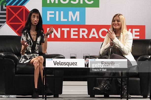 Lizzie Velasquez and Justine Ezarik speak onstage at 'A Conversation With YouTube Celebrities iJustine And Lizzie Velasquez' during the 2015 SXSW...