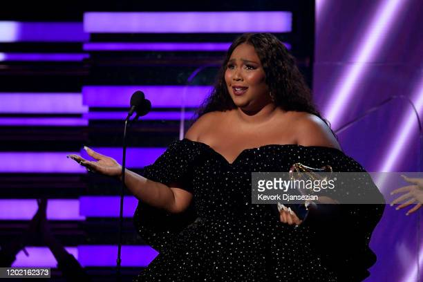 Lizzo accepts Best Pop Solo Performance for 'Truth Hurts' onstage during the 62nd Annual GRAMMY Awards at Staples Center on January 26 2020 in Los...