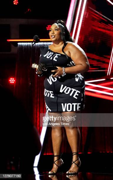 Lizzo accepts her award for Top Sales Artist during the 2020 Billboard Music Awards held at the Dolby Theatre in Hollywood, CA.
