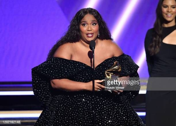 Lizzo accepts the Best Pop Solo Performance award for 'Truth Hurts' onstage during the 62nd Annual GRAMMY Awards at STAPLES Center on January 26,...
