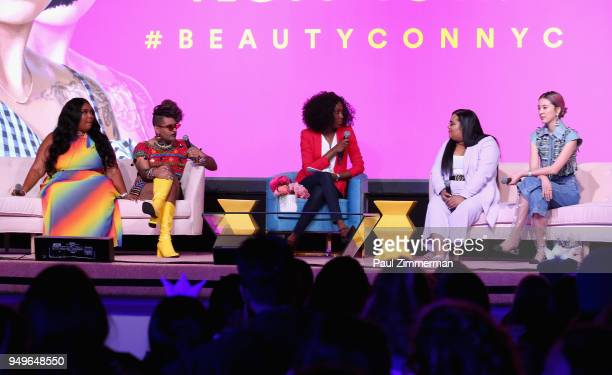 Lizzo Alok V Menon Dana L Oliver Nabela Noor and Irene Kim speak on a panel at Beautycon Festival NYC 2018 Day 1 at Jacob Javits Center on April 21...