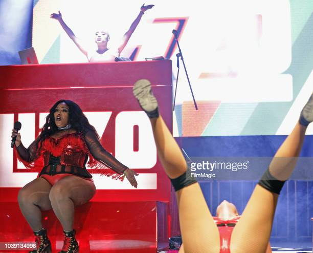 Lizzo and Grace Holden perform on Huntridge Stage during the 2018 Life Is Beautiful Festival on September 23 2018 in Las Vegas Nevada