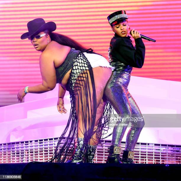 Lizzo and Janelle Monáe perform on Coachella Stage during the 2019 Coachella Valley Music And Arts Festival on April 12 2019 in Indio California