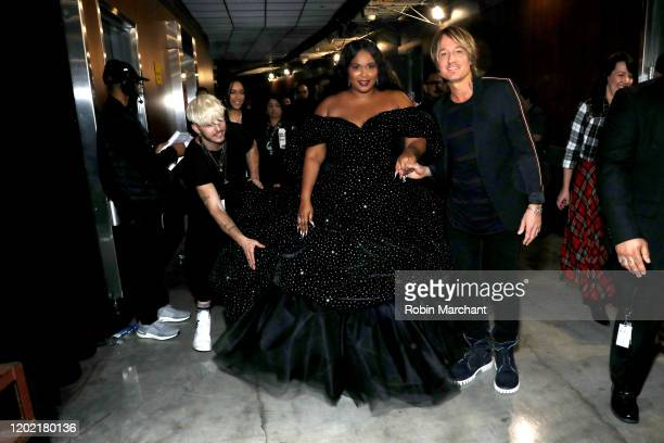 Lizzo and Keith Urban are seen backstage at the GRAMMY Charities Signings during the 62nd Annual GRAMMY Awards at STAPLES Center on January 26 2020...