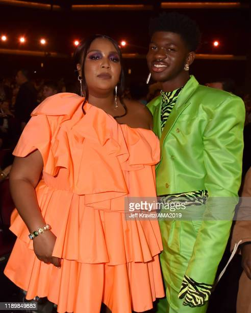 Lizzo and Lil Nas X attend the 2019 American Music Awards at Microsoft Theater on November 24, 2019 in Los Angeles, California.