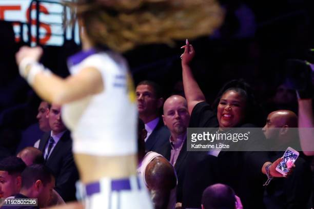 Lizzo attends a game between the Los Angeles Lakers and the Minnesota Timberwolves at Staples Center on December 08 2019 in Los Angeles California...