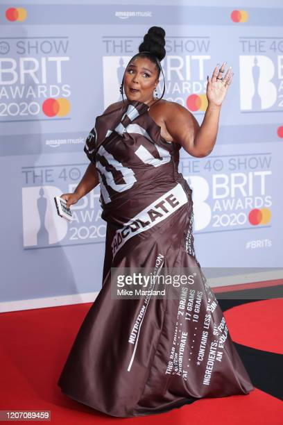 Lizzo attends The BRIT Awards 2020 at The O2 Arena on February 18 2020 in London England