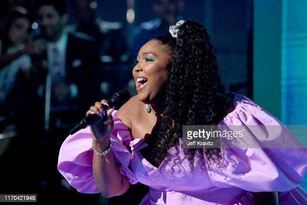 Lizzo onstage during the 2019 MTV Video Music Awards at Prudential Center on August 26 2019 in Newark New Jersey