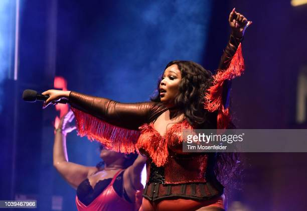 Lizzo performs during the 2018 Life is Beautiful Festival on September 23 2018 in Las Vegas Nevada