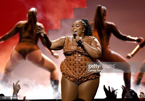 Lizzo performs during The BRIT Awards 2020 at The O2 Arena on February 18, 2020 in London, England.