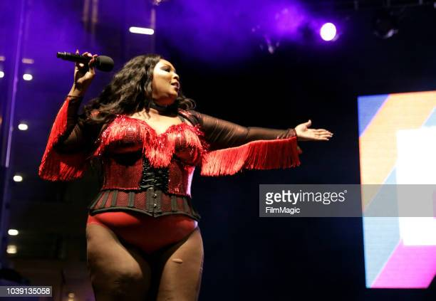 Lizzo performs on Huntridge Stage during the 2018 Life Is Beautiful Festival on September 23 2018 in Las Vegas Nevada