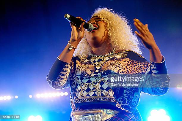 Lizzo performs on stage at Leeds Festival at Bramham Park on August 23 2014 in Leeds United Kingdom