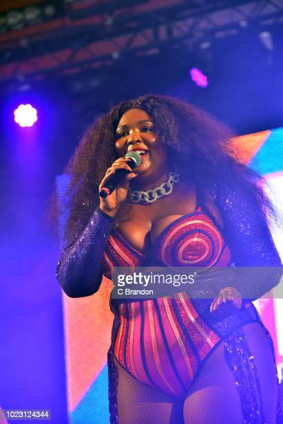 Lizzo performs on stage during day two of the Reading Festival at Richfield Avenue on August 25 2018 in Reading England