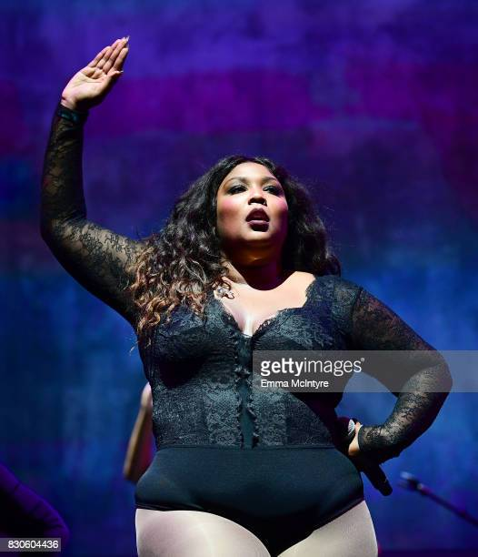 Lizzo performs onstage at 2017 Sundance NEXT FEST at The Theater at The Ace Hotel on August 11 2017 in Los Angeles California