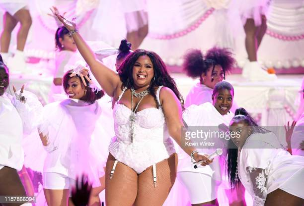 Lizzo performs onstage at the 2019 BET Awards on June 23 2019 in Los Angeles California