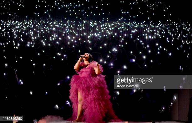 Lizzo performs onstage during the 2019 American Music Awards at Microsoft Theater on November 24 2019 in Los Angeles California