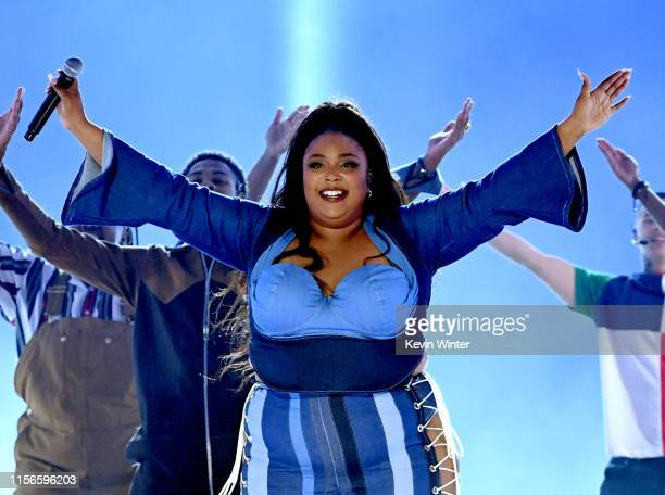 Lizzo performs onstage during the 2019 MTV Movie and TV Awards at Barker Hangar on June 15 2019 in Santa Monica California Lizzo
