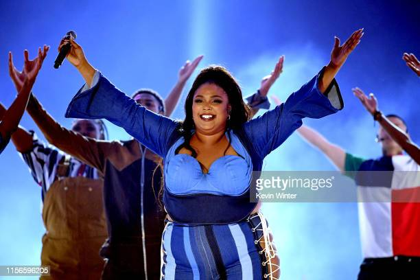 Lizzo performs onstage during the 2019 MTV Movie and TV Awards at Barker Hangar on June 15 2019 in Santa Monica California