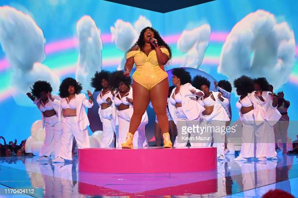 Lizzo performs onstage during the 2019 MTV Video Music Awards at Prudential Center on August 26 2019 in Newark New Jersey