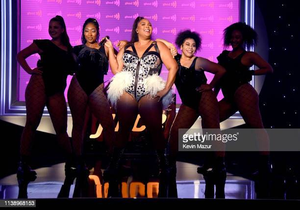 Lizzo performs onstage during the 30th Annual GLAAD Media Awards Los Angeles at The Beverly Hilton Hotel on March 28 2019 in Beverly Hills California