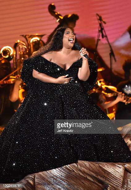 Lizzo performs onstage during the 62nd Annual GRAMMY Awards at Staples Center on January 26 2020 in Los Angeles California