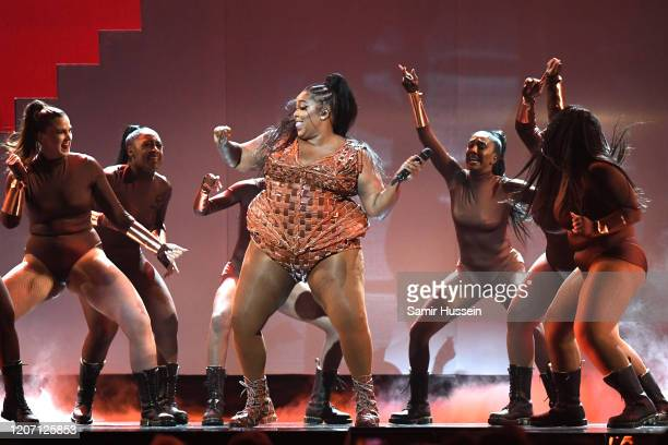 Lizzo performsduring The BRIT Awards 2020 at The O2 Arena on February 18, 2020 in London, England.