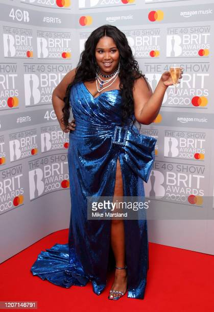 Lizzo poses in the winners rooms at The BRIT Awards 2020 at The O2 Arena on February 18, 2020 in London, England.