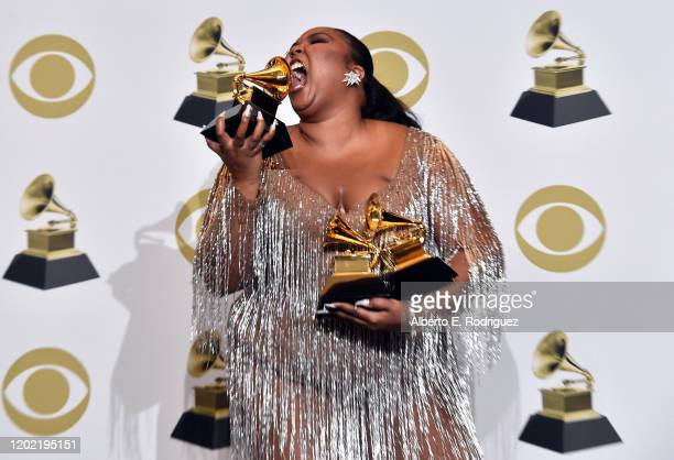 Lizzo winner of Best Traditional RB Performance for Jerome poses in the press room during the 62nd Annual GRAMMY Awards at STAPLES Center on January...