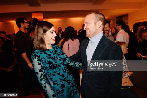 Lizzy Caplan and Aaron Paul attend the after party of Apple TV's 'Truth Be Told' on November 11 2019 in Beverly Hills California