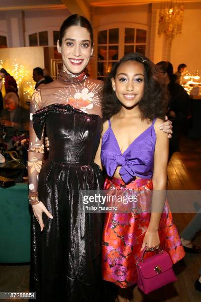 Lizzy Caplan and Lexi Underwood attend the Hulu LA Press Party 2019 at Spago on November 12 2019 in Beverly Hills California