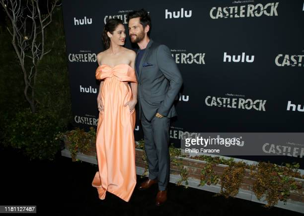 """Lizzy Caplan and Tom Riley attend the premiere of Hulu's """"Castle Rock"""" Season 2 at AMC Sunset 5 on October 14, 2019 in Los Angeles, California."""