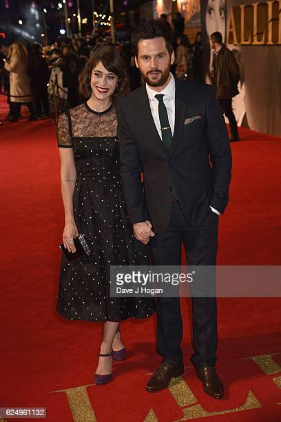 Lizzy Caplan and Tom Riley attend the UK Premiere of Allied at Odeon Leicester Square on November 21 2016 in London England