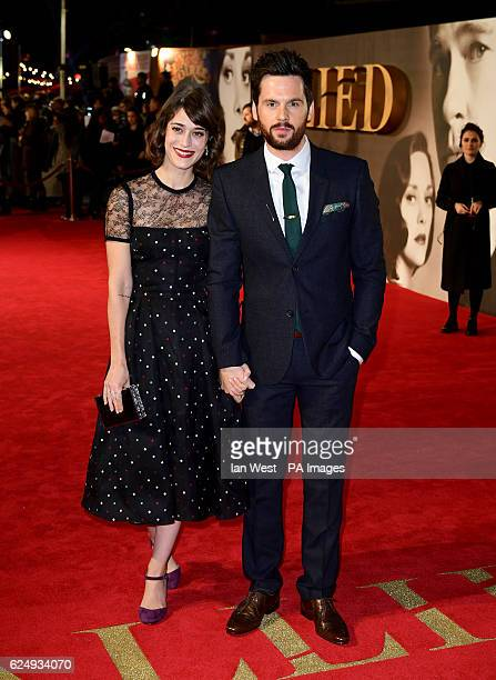 Lizzy Caplan and Tom Riley attending the 'Allied' UK Premiere at Odeon Leicester Square London