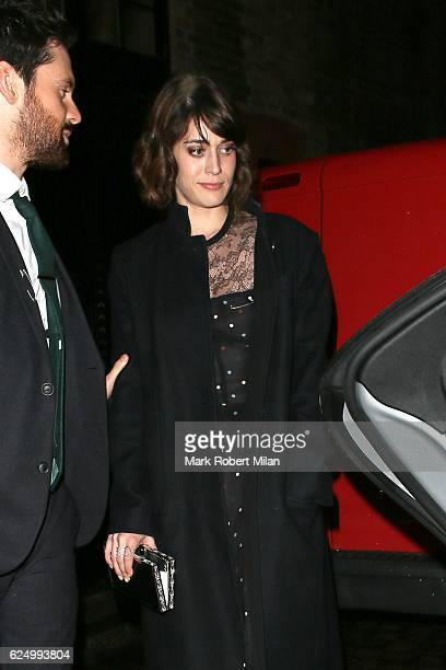 Lizzy Caplan and Tom Riley leaving the Chiltern Firehouse on November 21 2016 in London England