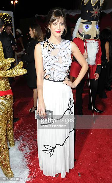 Lizzy Caplan arrives at the premiere for Columbia Pictures' 'The Night Before' at The Theatre at The Ace Hotel on November 18 2015 in Los Angeles...