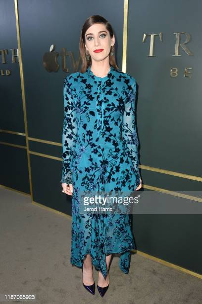 Lizzy Caplan arrives at the premiere of Apple TV's 'Truth Be Told' at AMPAS Samuel Goldwyn Theater on November 11 2019 in Beverly Hills California