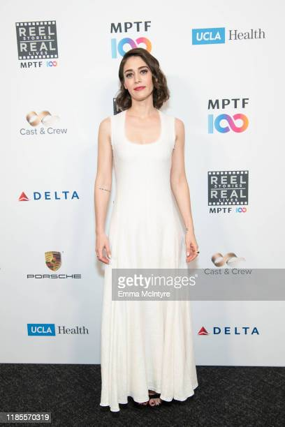 Lizzy Caplan attends MPTF's 8th annual Reel Stories, Real Lives event at Directors Guild Of America on November 04, 2019 in Los Angeles, California.