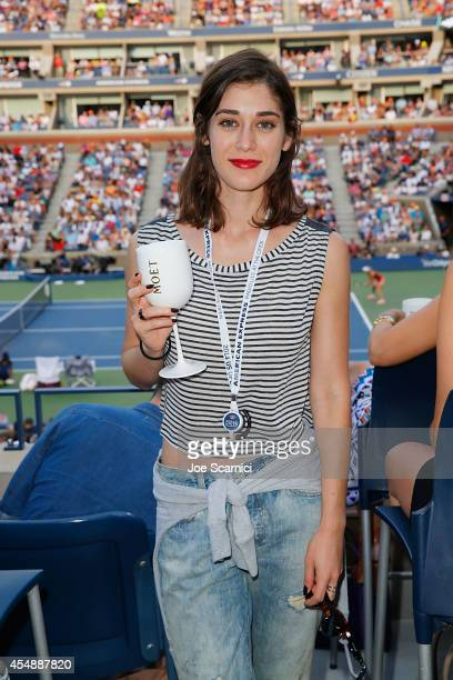 Lizzy Caplan attends the Moet Chandon Suite at The 2014 US Open during the Women's Final at USTA Billie Jean King National Tennis Center on September...