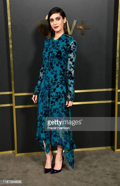 Lizzy Caplan attends the Premiere Of Apple TV's Truth Be Told at AMPAS Samuel Goldwyn Theater on November 11 2019 in Beverly Hills California